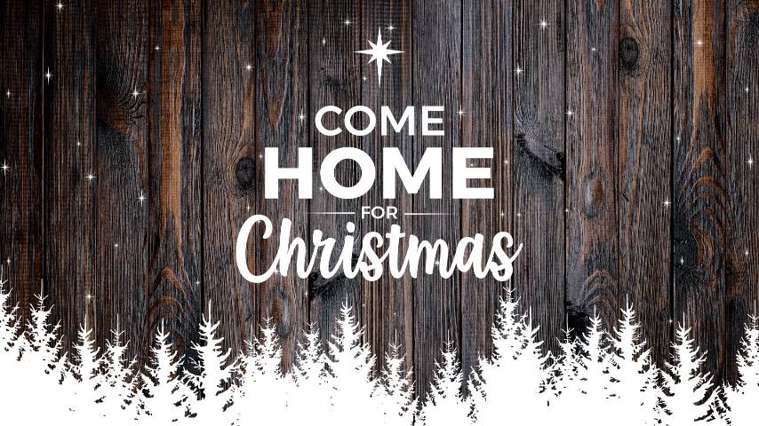 Dark Wood Christmas Come Home PowerPoint Template