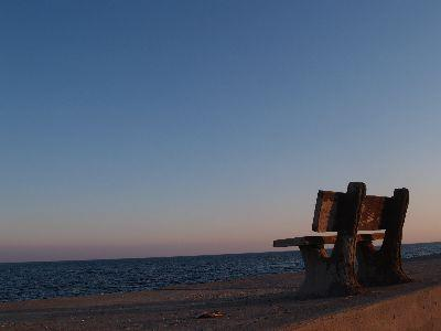 Image on Bench At Shore