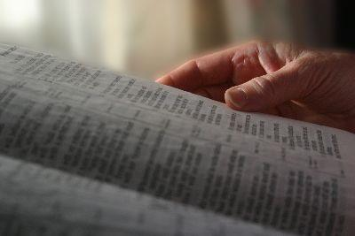 Image on Bible Hand Reading
