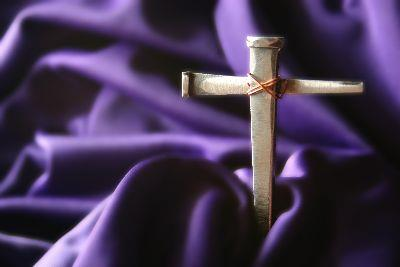 Image on Cross Nails Purple