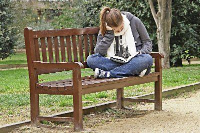 media Girl Bench Reading