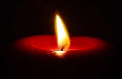 Image on Red Candle