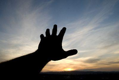 Worship Hand Sunset Image