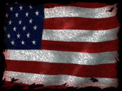 Motion Background on American Flag - Grunge