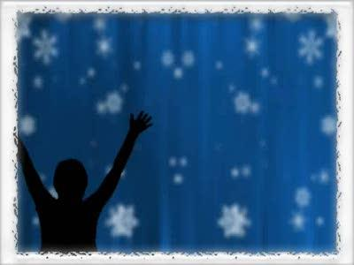 Motion Background on Bordered Snowfall Praise - Blue