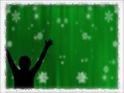 Motion Background on Bordered Snowfall Praise - Green