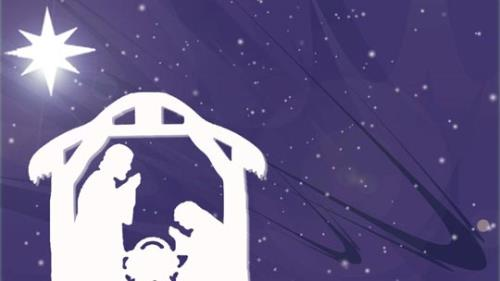 Motion Background on Christmas Star Manger - Purple