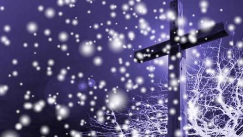 Motion Background on Snowfall Cross - Dark Blue