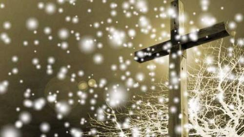 view the Motion Background Snowfall Cross - Gold