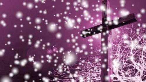 Motion Background on Snowfall Cross - Pink