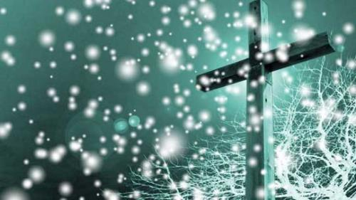 view the Motion Background Snowfall Cross - Teal