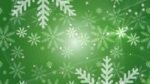 Motion Background on Snow Flake Light Crawl - Green