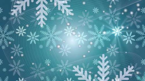 Motion Background on Snow Flake Light Crawl - Teal