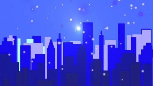 Motion Background on Snowy City - Blue