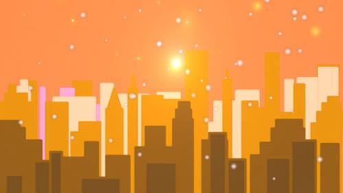 Motion Background on Snowy City - Orange