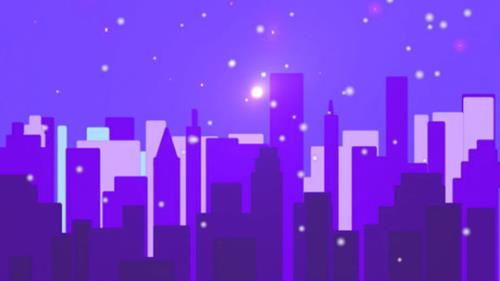 view the Motion Background Snowy City - Purple