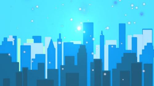 Motion Background on Snowy City - Teal