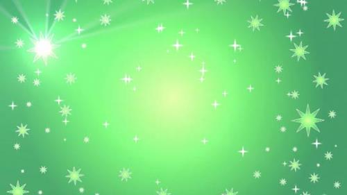 Motion Background on Star Light Sky - Green