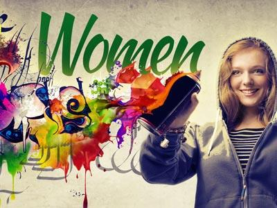 view the PowerPoint Template Women Paint