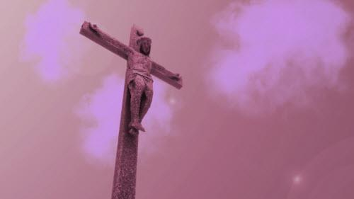 Motion Background on Jesus Cloud Cross - Red