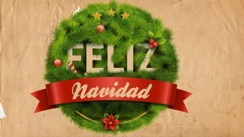 view the PowerPoint Template Feliz Navidad Wreath