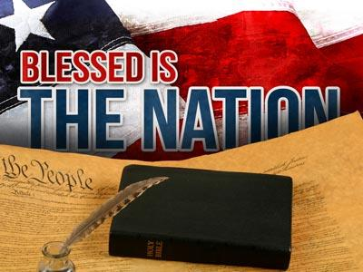 PowerPoint Template on Blessed  Is The  Nation