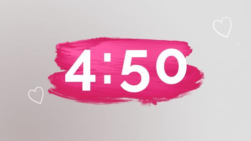 Countdown Video on Pink Paint Strokes