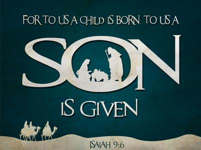 PowerPoint Template on For To Us A  Child Is  Born With  Scripture