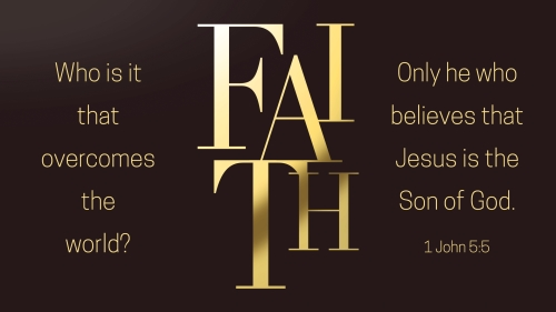 PowerPoint Template on Gold Letters Faith