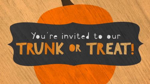view the Motion Background Cute Fall Trunk Or Treat Invite