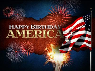 PowerPoint Template on Happy  Birthday  America