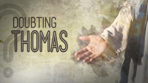 Doubting Thomas Hand PowerPoint Template 1