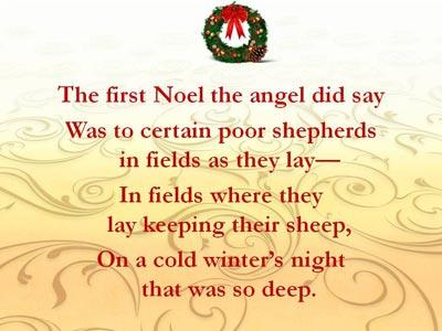 The First Noel with Lyrics PowerPoint Template 3