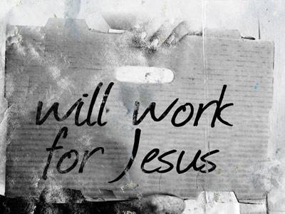Will Work for Jesus PowerPoint Template 1