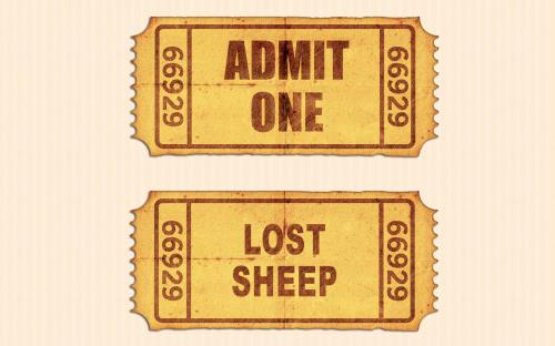 Admit  One  Lost  Sheep PowerPoint Template 1