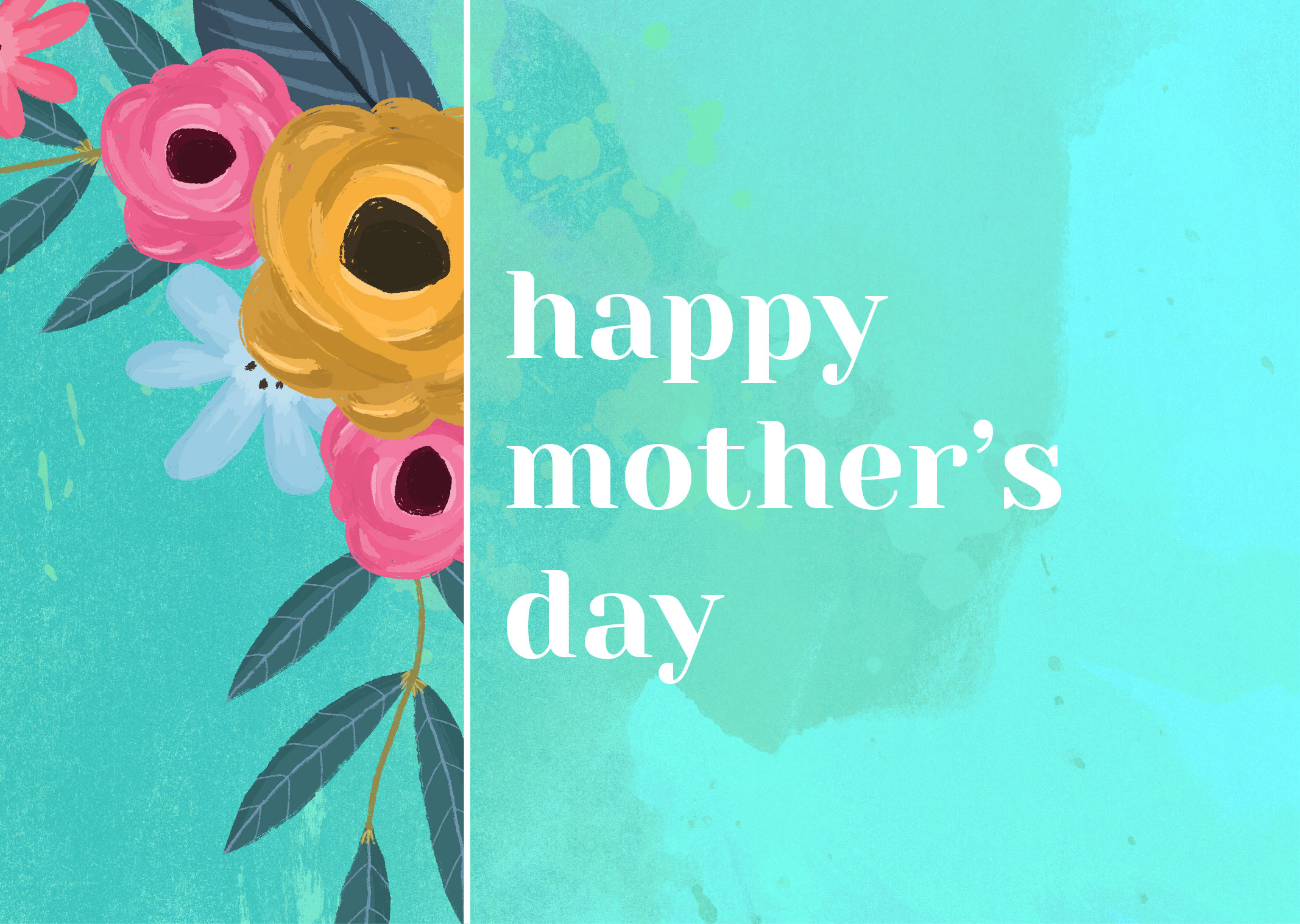 Mother's Day Painted Flowers PowerPoint Template 1
