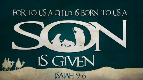 For to Us a  Child is  Born with  Scripture PowerPoint Template 1