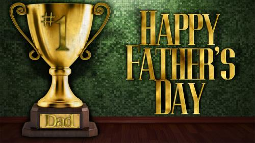 Father's Day Trophy PowerPoint Template 1